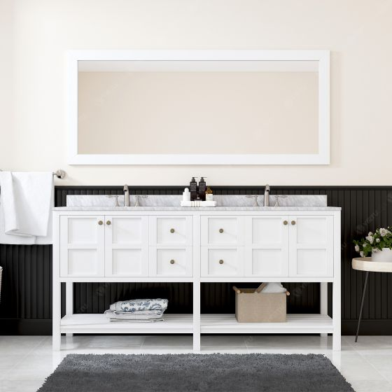 Virtu USA - ED-30072-WMSQ-WH-001 - Winterfell 72 in. Bathroom Vanity Set front view