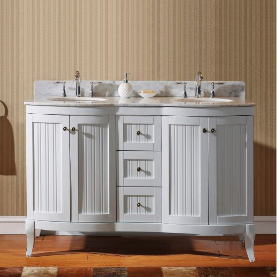 "Khaleesi 60"" (ED-52060-WMRO-WH-NM) Double Bathroom Vanity in White with Marble Top and Round Sink"