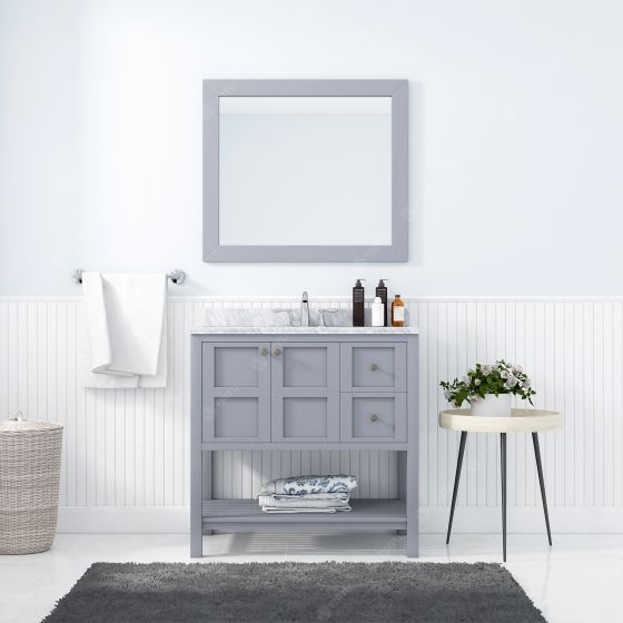 Virtu USA - ES-30036-WMSQ-GR - Winterfell 36 in. Bathroom Vanity Set front view