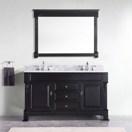 """Virtu USA - GD-4060-WMRO-DW-002 - Huntshire 60"""" Double Round Sink Marble Top Vanity in Dark Walnut with Polished Chrome Faucet and Mirror"""