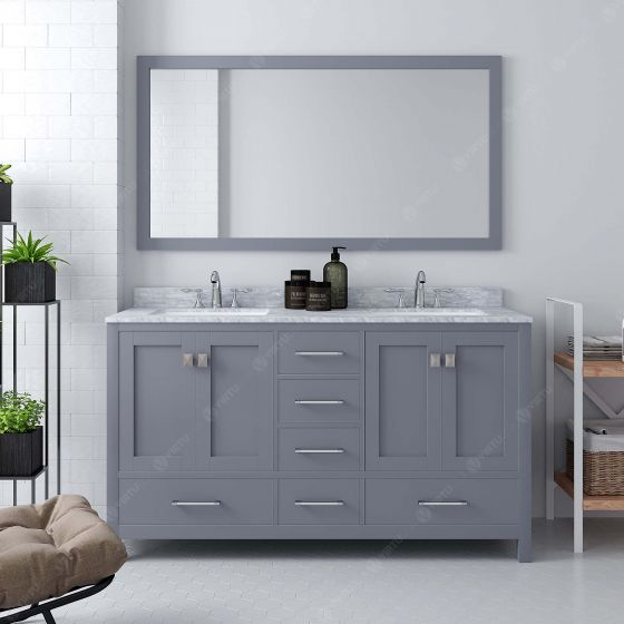 Virtu USA - GD-50060-WMRO-GR-001 - Caroline Avenue 60 in. Bathroom Vanity Set front view