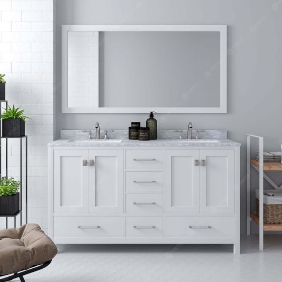 Virtu USA - GD-50060-WMRO-WH - Caroline Avenue 60 in. Bathroom Vanity Set front view