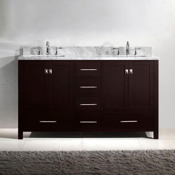 """Caroline Avenue 60"""" (GD-50060-WMSQ-ES-NM) Double Bathroom Vanity in Espresso with Marble Top and Square Sink"""
