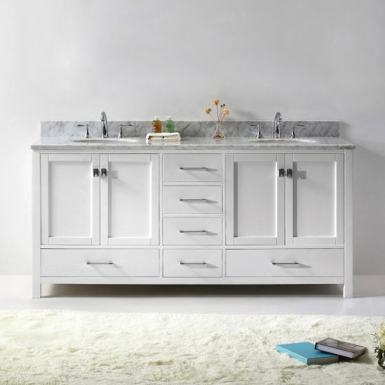 "Caroline Avenue 72"" (GD-50072-WMRO-WH-NM) Double Bathroom Vanity in White with Marble Top and Round Sink"
