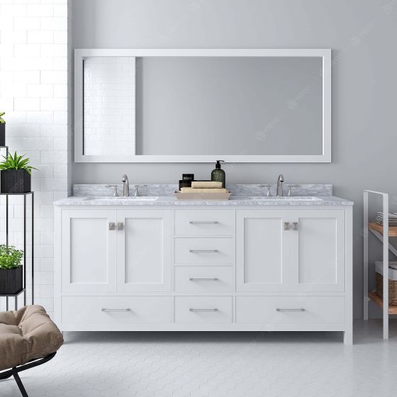 Virtu USA - GD-50072-WMSQ-WH - Caroline Avenue 72 in. Bathroom Vanity Set front view