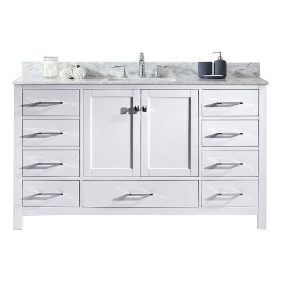"Virtu USA - GS-50060-WMSQ-NM - Caroline Avenue 60"" Single Square Sink Marble Top Vanity in White"