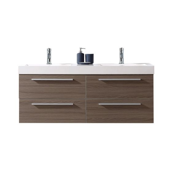 "Virtu USA - JD-50754-GO- Finley 54"" Double Bathroom Vanity in Grey Oak with White Polymarble Top and Square Sink and Faucet"