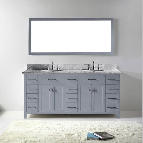 """Virtu USA - MD-2172-WMRO-GR-002 - Caroline Parkway 72"""" Double Round Sink Marble Top Vanity in Grey with Polished Chrome Faucet and Mirror"""