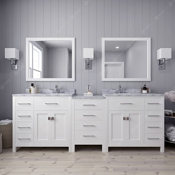 Virtu USA - MD-2193-WMSQ-WH-002 - Caroline Parkway 93 in. Bathroom Vanity Set front view