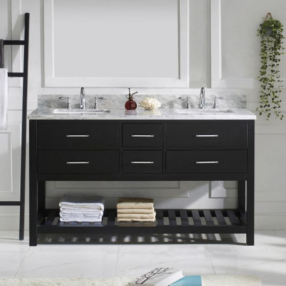 """Caroline Estate 60"""" (MD-2260-WMSQ-ES-NM) Double Bathroom Vanity in Espresso with Marble Top and Square Sink"""