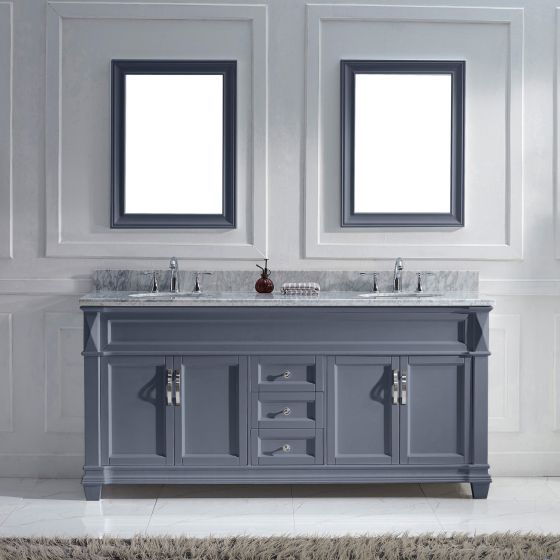 "Victoria 72"" (MD-2672-WMRO-GR-002) Double Bathroom Vanity in Gray with Marble Top and Round Sink with Polished Chrome Faucet and Mirrors"