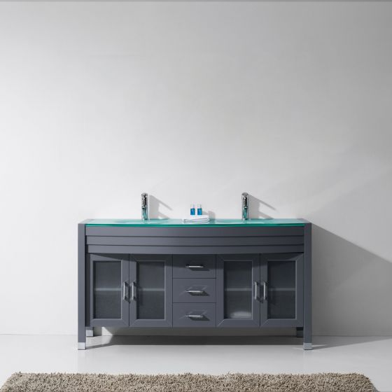 """Ava 63"""" (MD-499-G-GR-NM) Double Bathroom Vanity in Grey with Aqua Tempered Glass Top and Round Sink with Polished Chrome Faucet"""