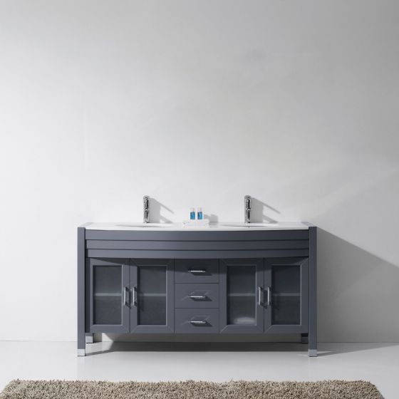 """Ava 63"""" (MD-499-S-GR-NM) Double Bathroom Vanity in Grey with White Engineered Stone Top and Round Sink with Polished Chrome Faucet"""