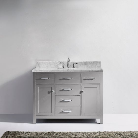 "Virtu USA - MS-2048-WMRO-CG-NM - Caroline 48"" Single Bathroom Vanity in Cashmere Grey with Marble Top and Round Sink"