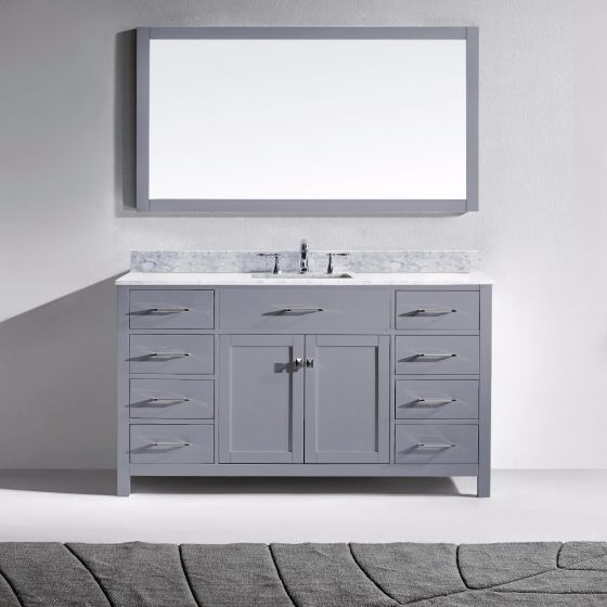 """Virtu USA - MS-2060-WMSQ-GR - Caroline 60"""" Single Square Sink Marble Top Vanity in Grey with Mirror Front View"""