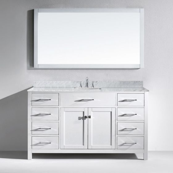 """Virtu USA - MS-2060-WMSQ-WH-002 - Caroline 60"""" Single Square Sink Marble Top Vanity in White with Mirror and Chrome Faucet"""