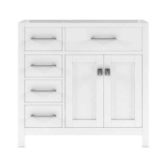 """Virtu USA - MS-2136L-CAB-WH - Caroline Parkway 36"""" Cabinet Only in White front facing white background"""