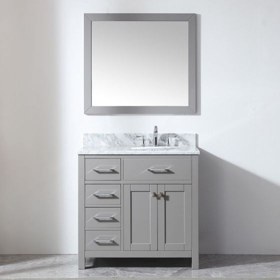 """Virtu USA - MS-2136L-WMRO-CG-001 - Caroline Parkway 36"""" Single Bathroom Vanity in Cashmere Grey with Marble Top and Round Sink with Brushed Nickel Faucet and Mirror"""