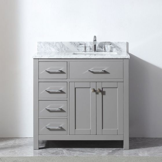 "Virtu USA - MS-2136L-WMSQ-CG-NM - Caroline Parkway 36"" Single Bathroom Vanity in Cashmere Grey with Square Sink and Marble Top"