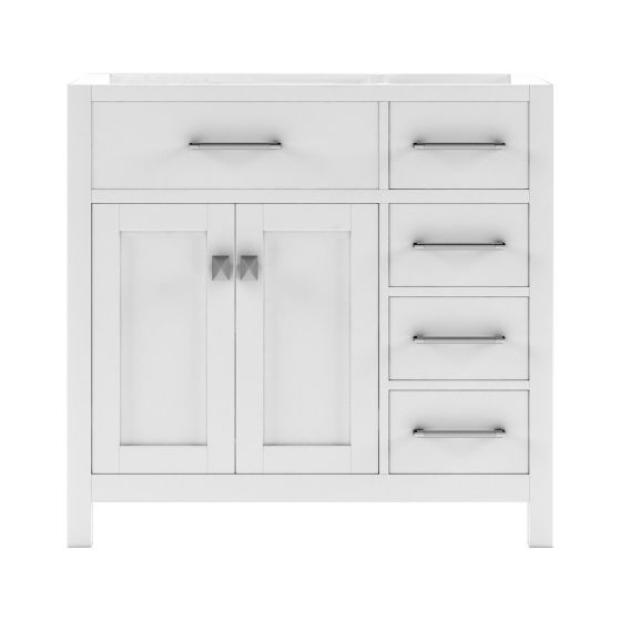 "Virtu USA - MS-2136R-CAB-WH - Caroline Parkway 36"" Cabinet Only in White front-facing white background"
