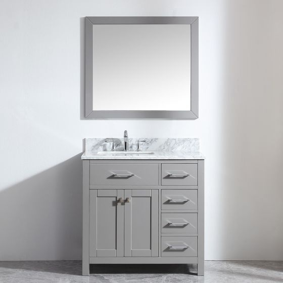 """Virtu USA - MS-2136R-WMSQ-CG-001 - Caroline Parkway 36"""" Single Bathroom Vanity Set with Brushed Nickel Faucet and Mirror in Cashmere Grey"""