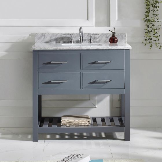 "Caroline Estate 36"" (MS-2236-WMSQ-GR-NM) Single Bathroom Vanity in Grey with Marble Top and Square Sink"