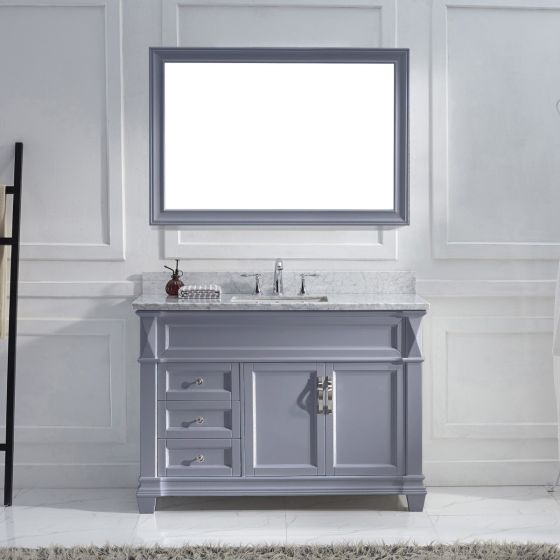 "Virtu USA - MS-2648-WMSQ-GR-001 - Victoria 48"" Single Square Sink Marble Top Vanity in Grey with Brushed Nickel Faucet and Mirror"