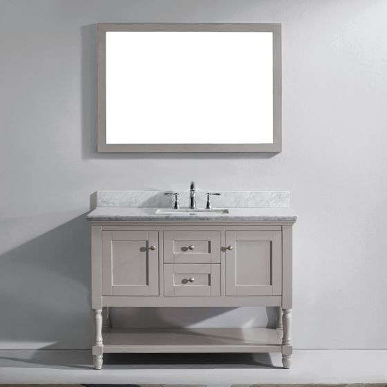 "Virtu USA - MS-3148-WMSQ-GR - Julianna 48"" Single Square Sink Marble Top Vanity in Grey with Mirror"
