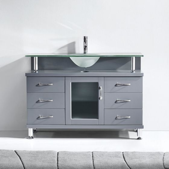 """Virtu USA - MS-48-FG-GR - Vincente 48"""" Single Round Sink Glass Top Vanity in Grey front view"""