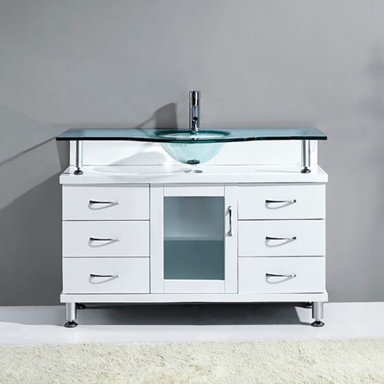 "Virtu USA - MS-48-G-WH - Virtu USA Vincente 48"" Single Bathroom Vanity Set in White front view"