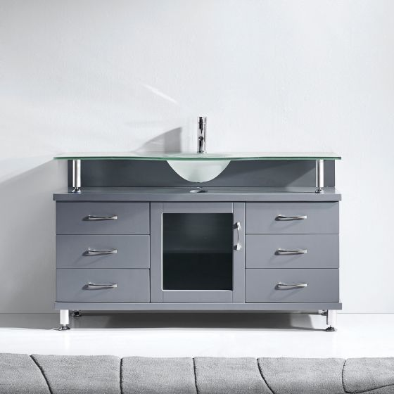 """Virtu USA - MS-55-FG-GR - Vincente 55"""" Single Round Sink Glass Top Vanity in Grey front view"""