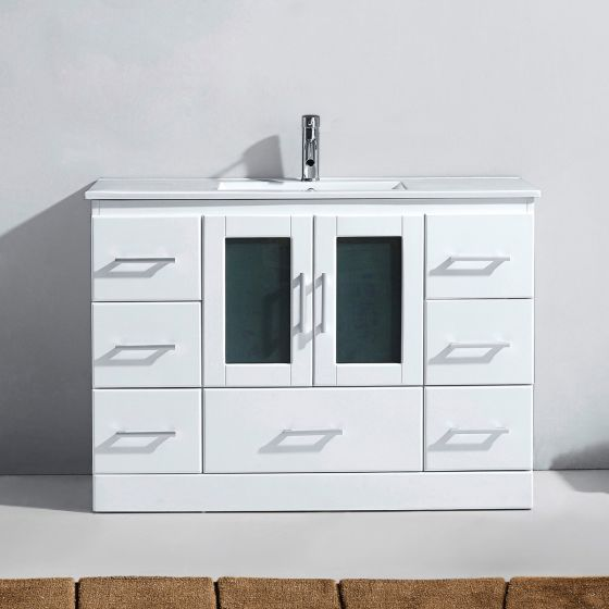 """Zola 48"""" (MS-6748-C-WH-NM) Single Bathroom Vanity in White with Slim White Ceramic Top and Square Sink with Polished Chrome Faucet"""