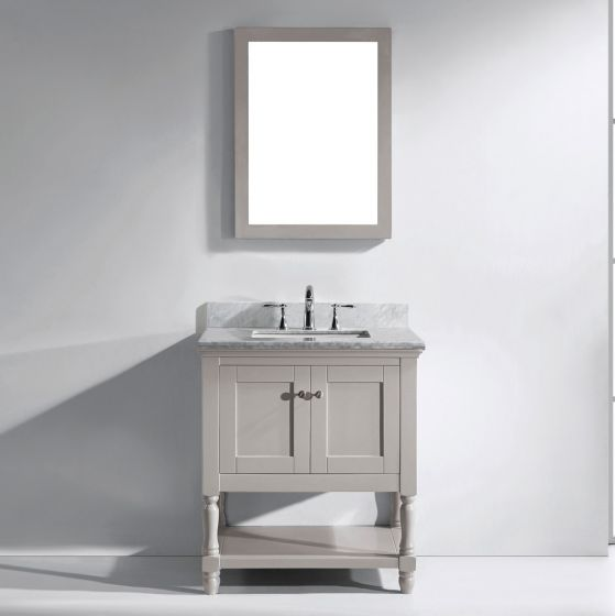 """Virtu USA - MS-3132-WMSQ-GR-001 - Julianna 32"""" Single Square Sink Marble Top Vanity in Grey with Brushed Nickel Faucet and Mirror"""