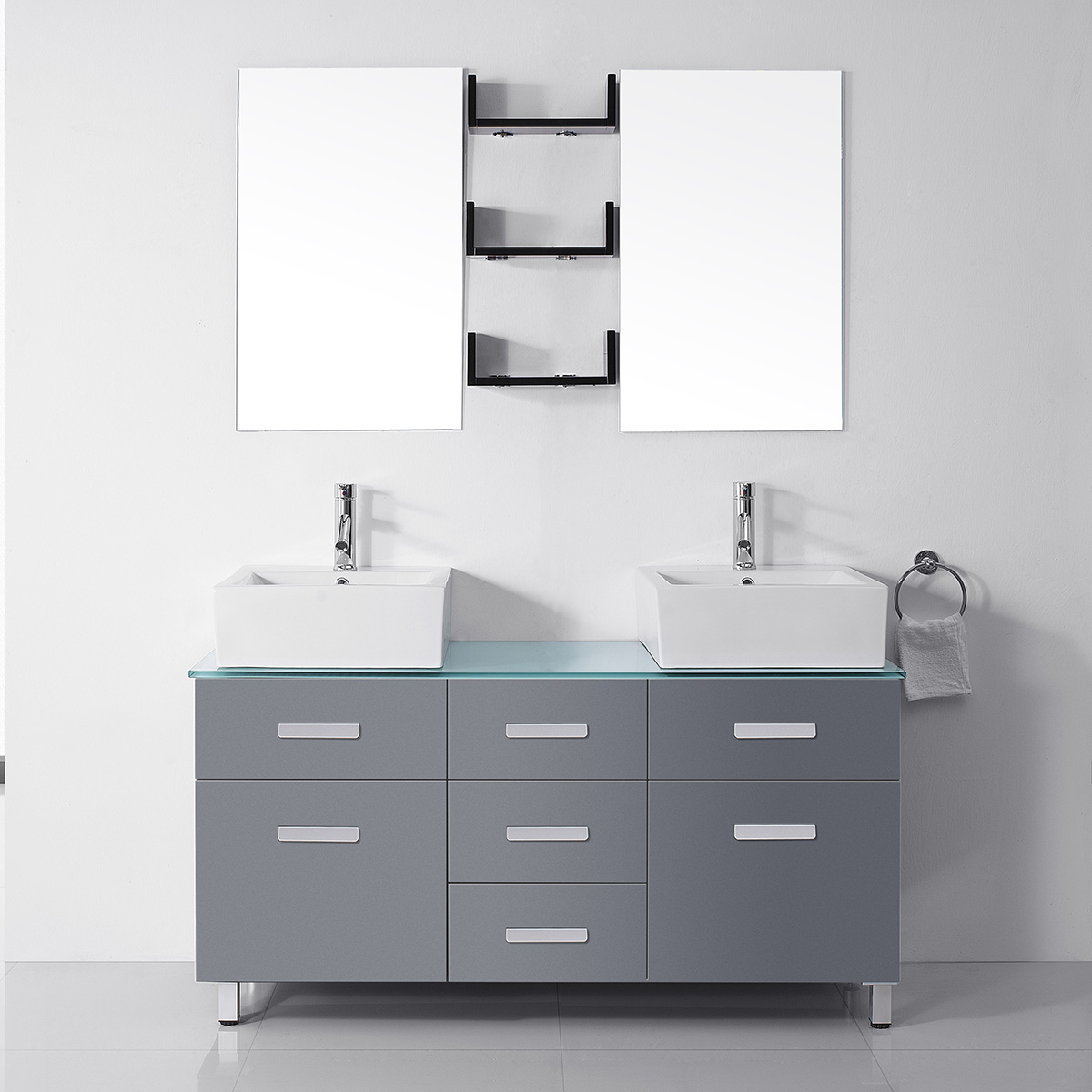 Virtu USA - UM-3063-G-GR-001 Maybell 5 inch Double Square Sink Glass Top Vanity in Grey with Brushed Nickel Faucet and Mirrors