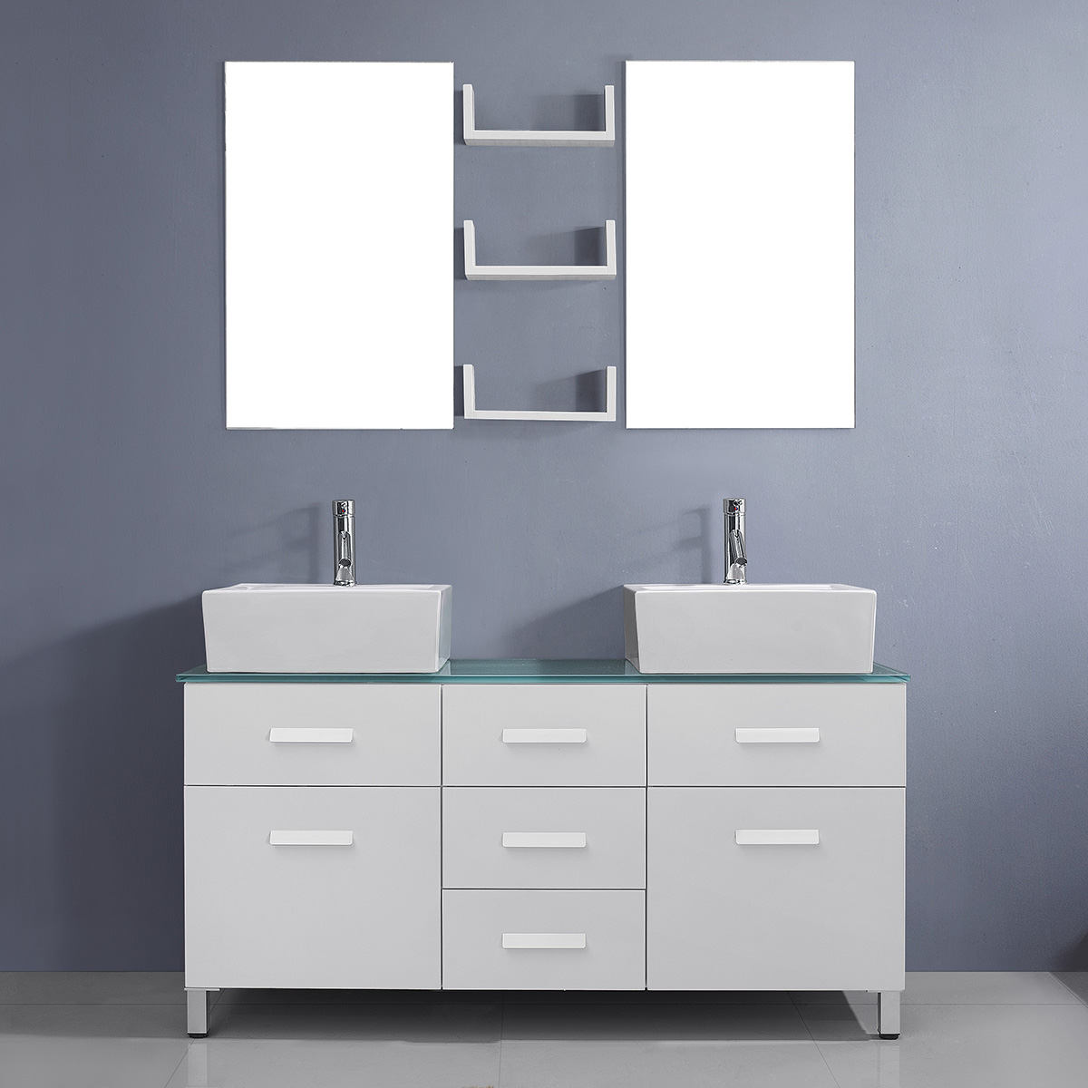 Virtu USA - UM-3063-G-WH-001 Maybell 56 inch Double Square Sink Glass Top Vanity in White with Brushed Nickel Faucet and Mirrors